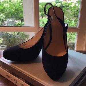 Talbots black suede sling back heels